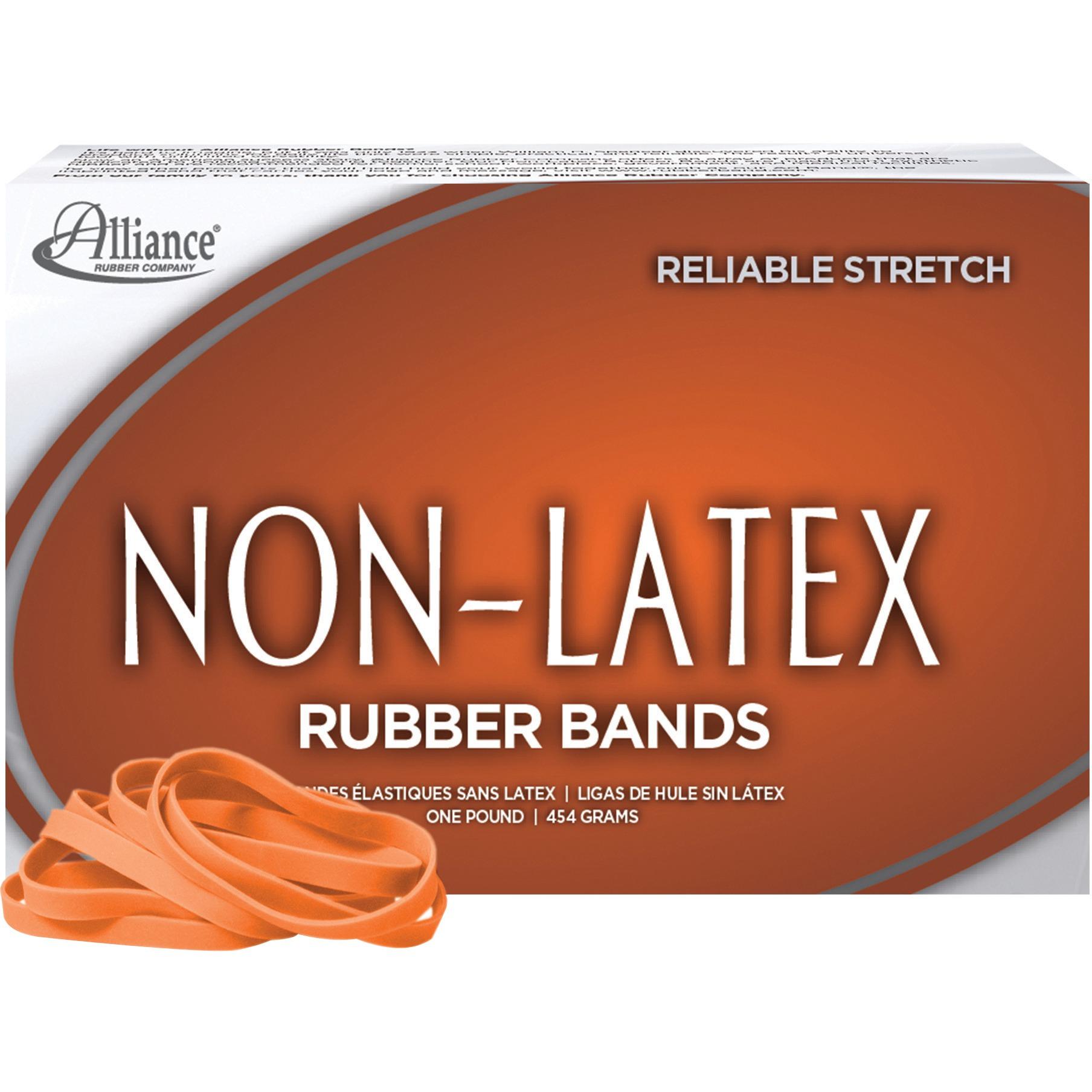 Alliance Non-Latex Rubber Bands, Sz. #64, Orange, 3 1/2 x 1/4, 380 Bands/1lb Box