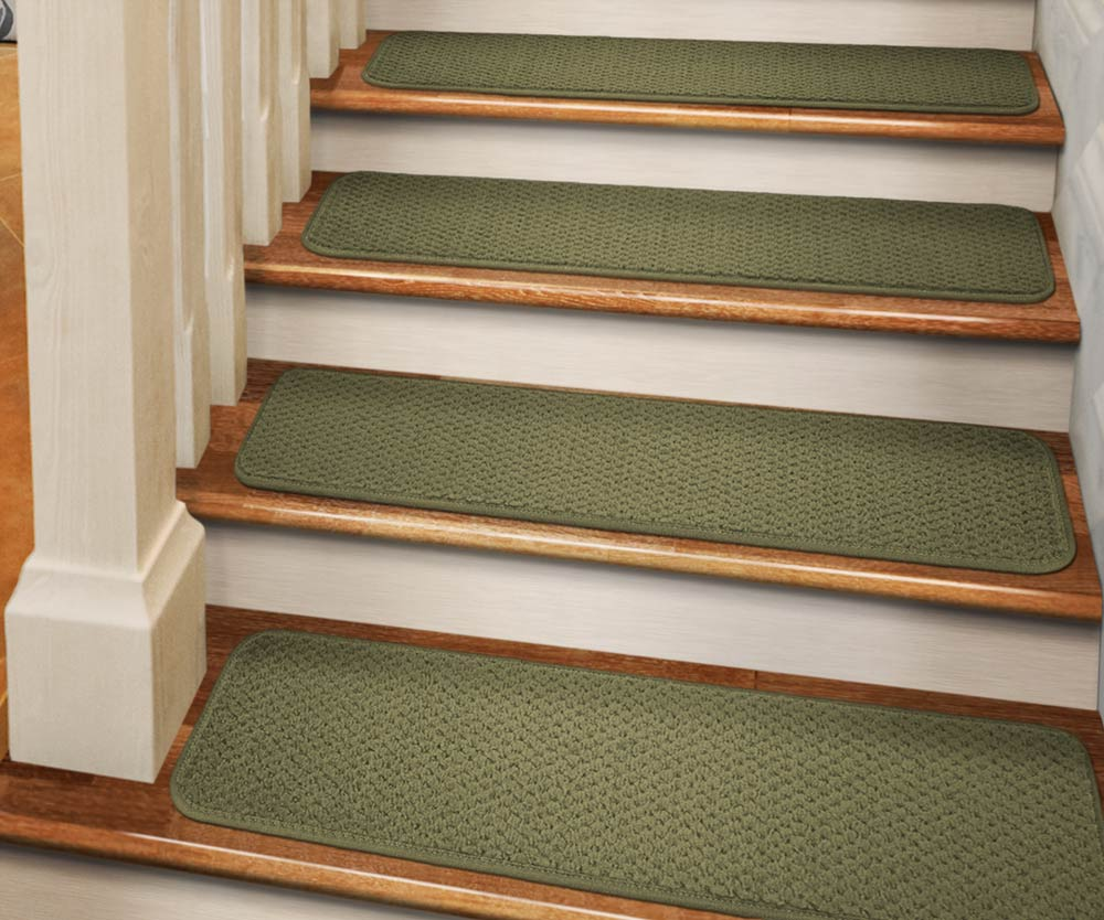 Set Of 12 Tape Down Carpet Stair Treads   Olive Green   8 In. X 27 In.    Several Other Sizes To Choose From