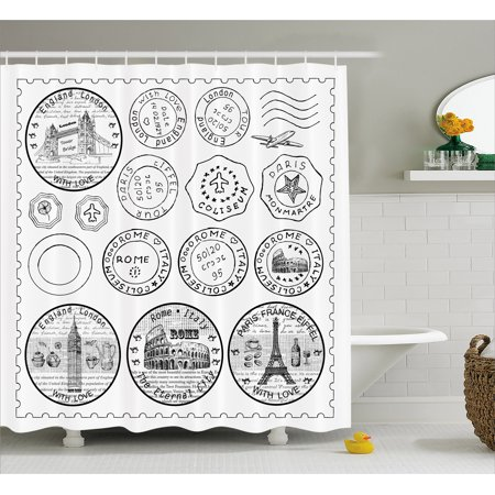 Travel Shower Curtain Stamps From All Over The World Historical Landmarks Tourist Attraction European Fabric Bathroom Set With Hooks Black White