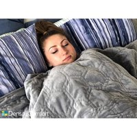 """DensityComfort 48x72"""" Minky Dot Duvet Cover - Grey and Blue for Weighted Blanket 