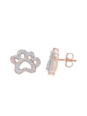 136614a6c Product Image Round Shape White Cubic Zirconia Dog Paw Stud Earring In 14k  Rose Gold Over Sterling Silver