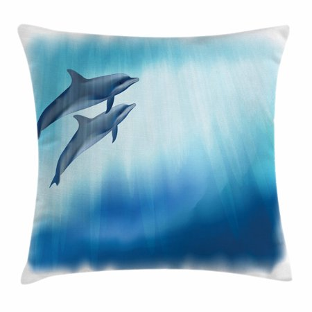 Dolphin Throw Pillow Cushion Cover, Underwater Scene with Two Ocean Mammals in Watercolor Style Swimming Image, Decorative Square Accent Pillow Case, 16 X 16 Inches, Dark Blue Pale Blue, by Ambesonne