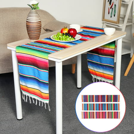 Grtsunsea Mexican Serape Blanket Table Runner Cotton Tablecloth Festival Party Wedding Home Decor 14''x84'' - Serape Table Runner