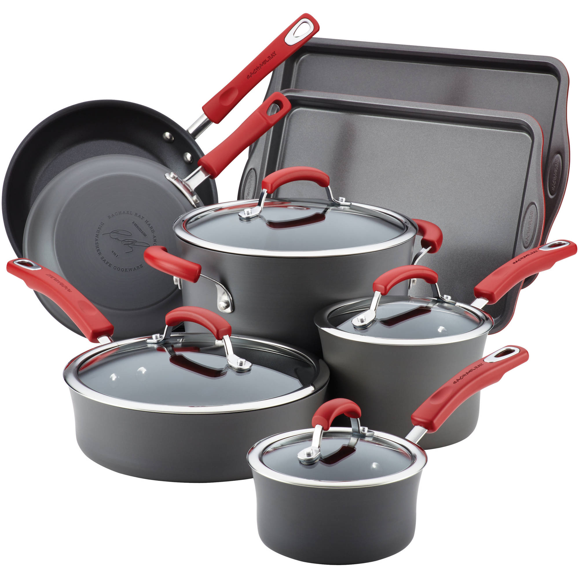Rachael Ray Hard Anodized Non Stick Grey Cookware Set With Red Handles 12 Piece