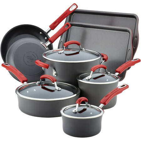Rachael Ray Hard-Anodized Nonstick 12-Piece Cookware Set, Grey with Red Handles