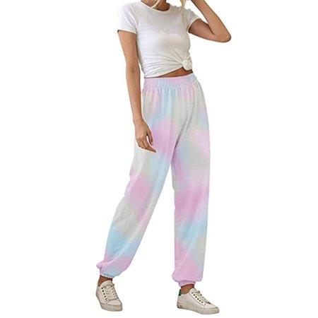 Springcmy Women's Closed Bottom Sweatpants with Pockets High Waist Pants