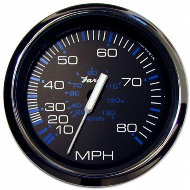 faria beede instruments 33705 4 in. black stainless steel speedometer - 80mph mechanical