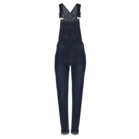 Made by Olivia Women's Classic and Distressed Skinny Jumpsuit Overalls in Various Styles Dark Denim