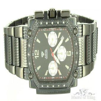 Black Metal Triple Dial Aqua Master Iced Out Mens Custom Watch Sale