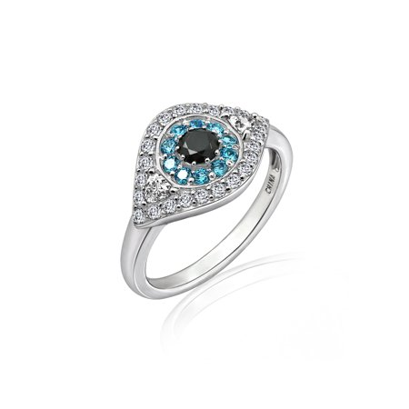Sterling Silver 1.00 cttw Cubic Zirconia Evil Eye Ring Size-6