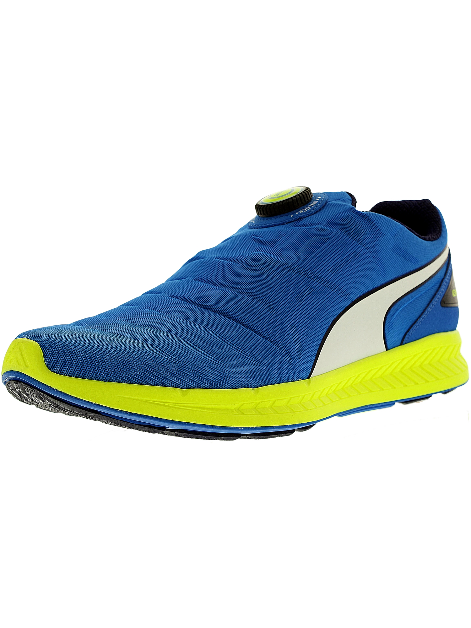 Puma Men's Ignite Disc Electric Blue/White/Safety Yellow Ankle-High Running Shoe - 8M