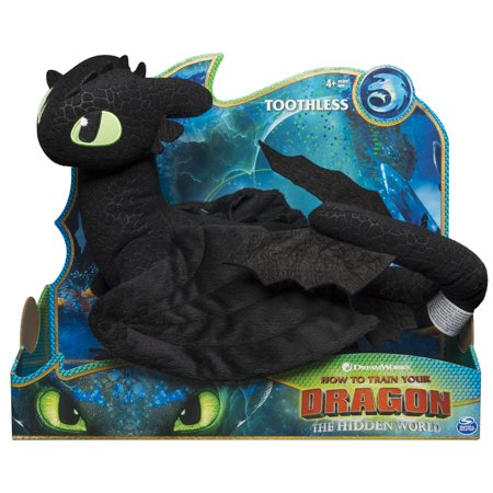 DreamWorks Dragons, Toothless 14-inch Deluxe Plush Dragon, for Kids Aged 4 and - Child Plush