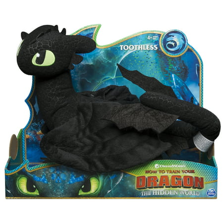 DreamWorks Dragons, Toothless 14-inch Deluxe Plush Dragon, for Kids Aged 4 and