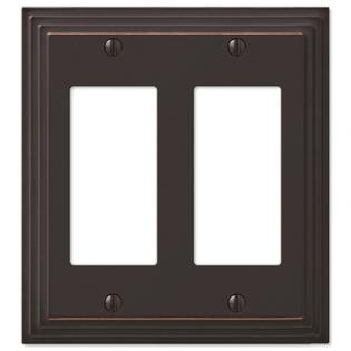 Double GFCI Rocker Wall Switch Plate Outlet Cover, Oil Rubbed Bronze ()