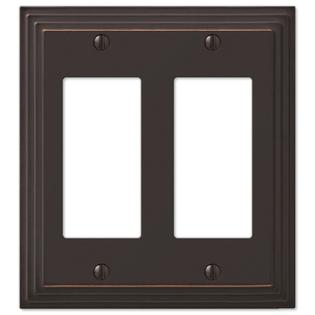 Step Design Double GFCI Decora Rocker Wall Switch Plate Outlet Cover - Oil Rubbed Bronze