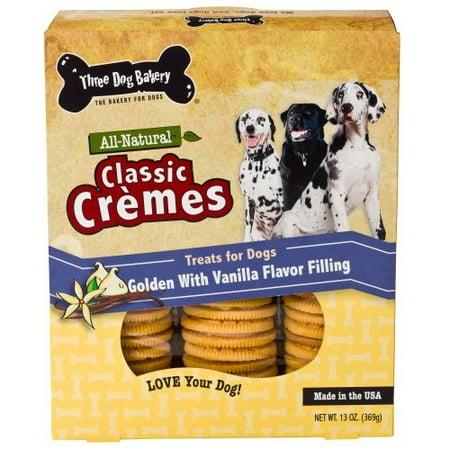 Three Dog Bakery Classic Cremes Vanilla Limited Ingredient Dry Dog Treat, 13 Oz