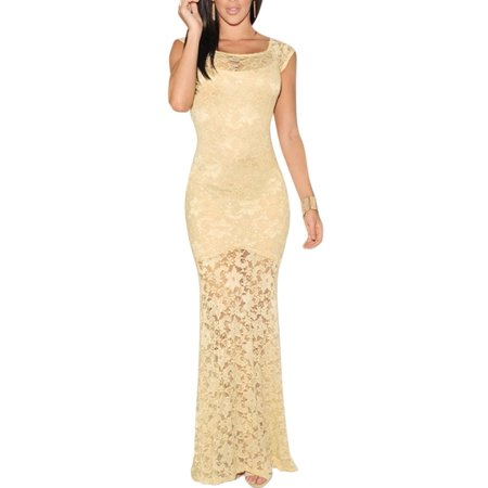 Women S Floral Design Scoop Neck Cap Sleeves Lace Bodycon Maxi Dress