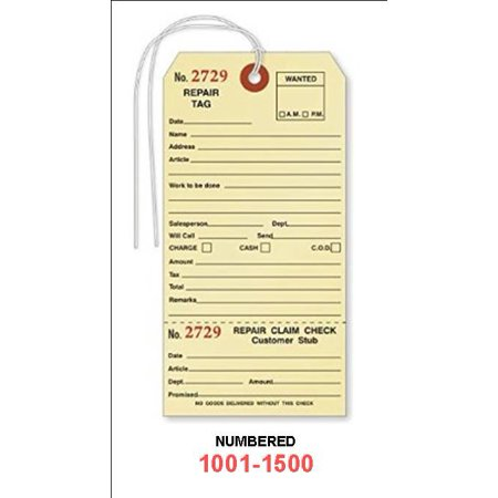 REPAIR Tags with Stub, Numbered 1001-1500, Strung - Box of 500