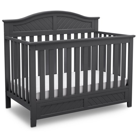 Delta Children Bennington Elite Curved 4-in-1 Convertible Crib, Charcoal Grey