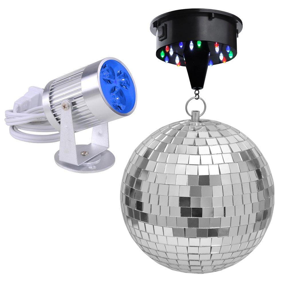 "Yescom 12"" Mirror Disco Ball + 6 RPM Rotating Motor + 3W 3 LEDs Pinspot Spotlight Kit Home"