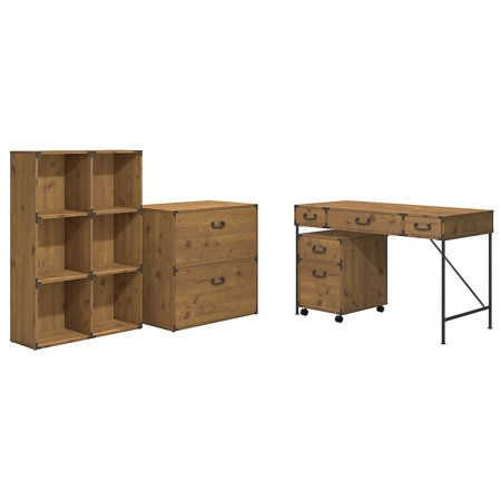 48W Writing Desk, 2 Dwr Mobile Ped, 6 Cube Bookcase, and Lateral File ()