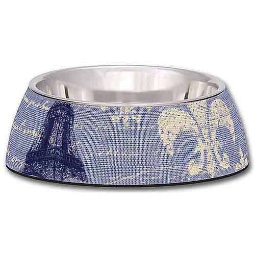 Loving Pets Milano Large Dog Bowl, Blue Linen