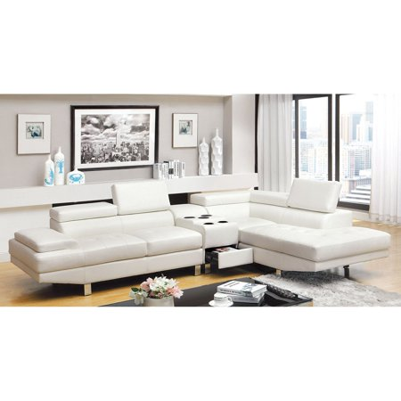 Furniture of America Hope 2 Piece Sectional Sofa with Optional Bluetooth  Console - White