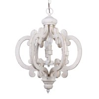 Crown-Shaped 6-Bulb Antique White Wood Chandelier