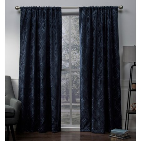 Exclusive Home Elena Wave Chenille Window Curtain Panel Pair with Rod Pocket