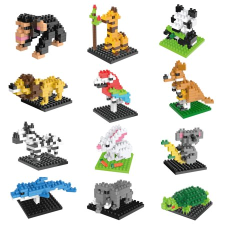 Party Favors for Kids, Mini Animals Building Blocks Sets for Goodie Bags, Prizes, Birthday Gifts, 12 Boxes - Goodie Bags For Kids Birthday
