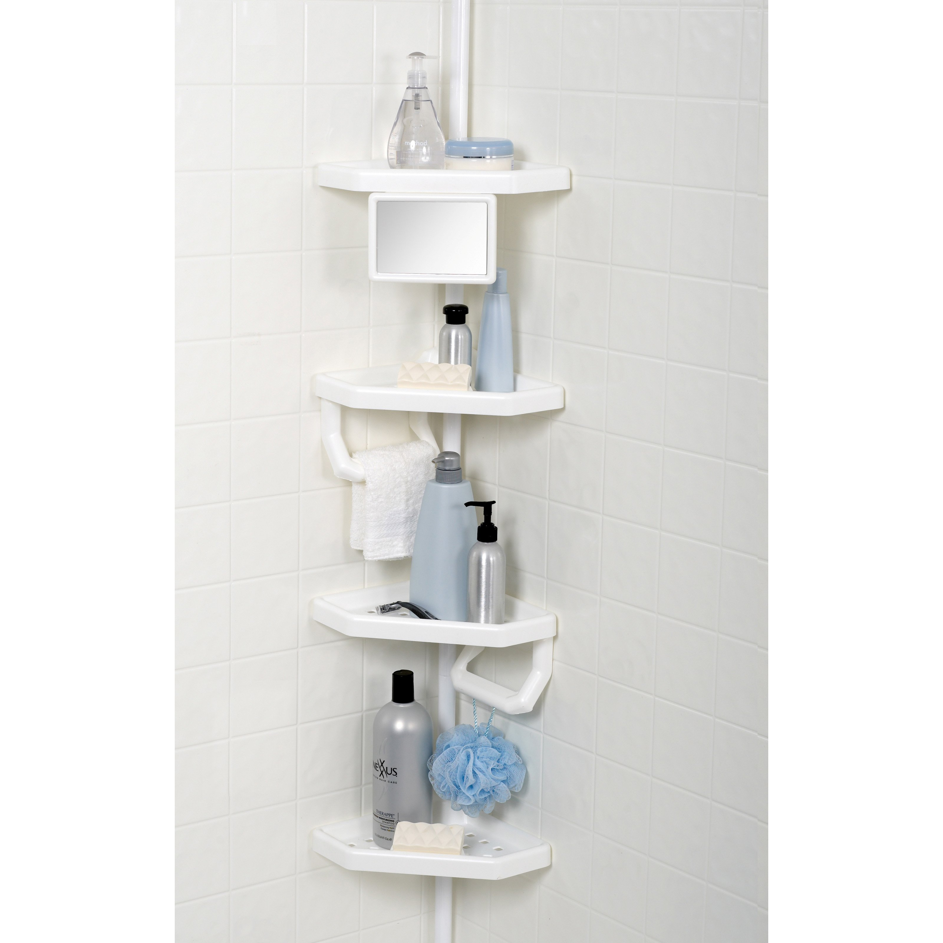 Tension Pole Corner Shower Caddy white with mirror tub and shower tension pole caddy - walmart
