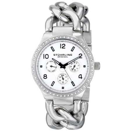 Women's 813S.01 Vogue Renoir Quartz Day and Date Swarovski Crystal-Accented Stainless Steel Chain-Link Bracelet Watch