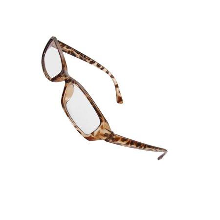 Men Women Leopard Pattern Frame Plastic Plano Plain (Leopard Frame Glasses)