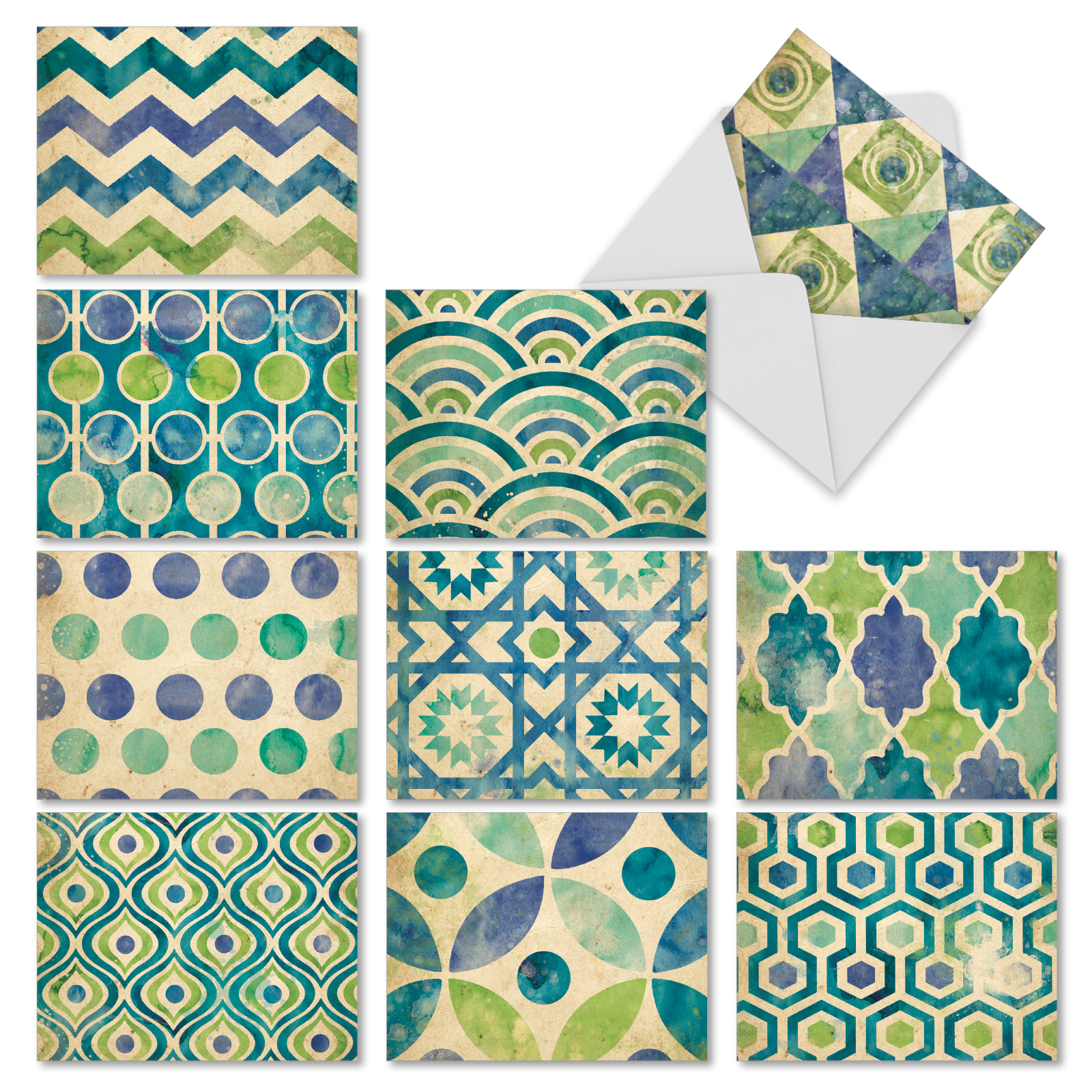 M6685OCB Watercolor Tiles: 10 Assorted Blank All-Occasion Note Cards with Envelopes, The Best Card Company