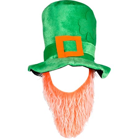 Large Green Plush Leprechaun Top Hat With Orange / White Beard Costume Accessory
