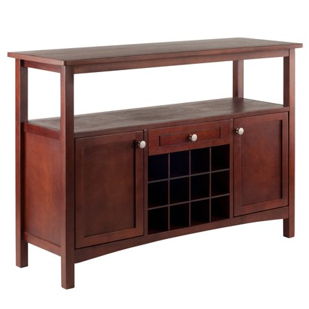 - Winsome Wood Colby Buffet Display Cabinet, Walnut Finish