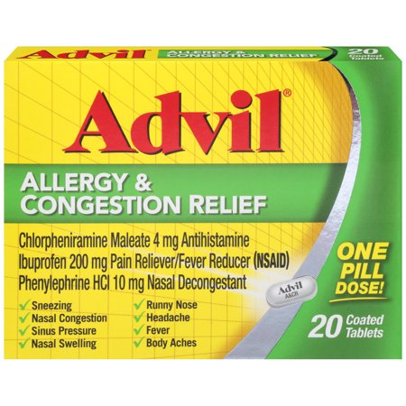Advil Allergy & Congestion Relief (20 Count) Pain Reliever / Fever Reducer Coated Tablet, 200mg Ibuprofen, Sneezing, Nasal Decongestant, Sinus
