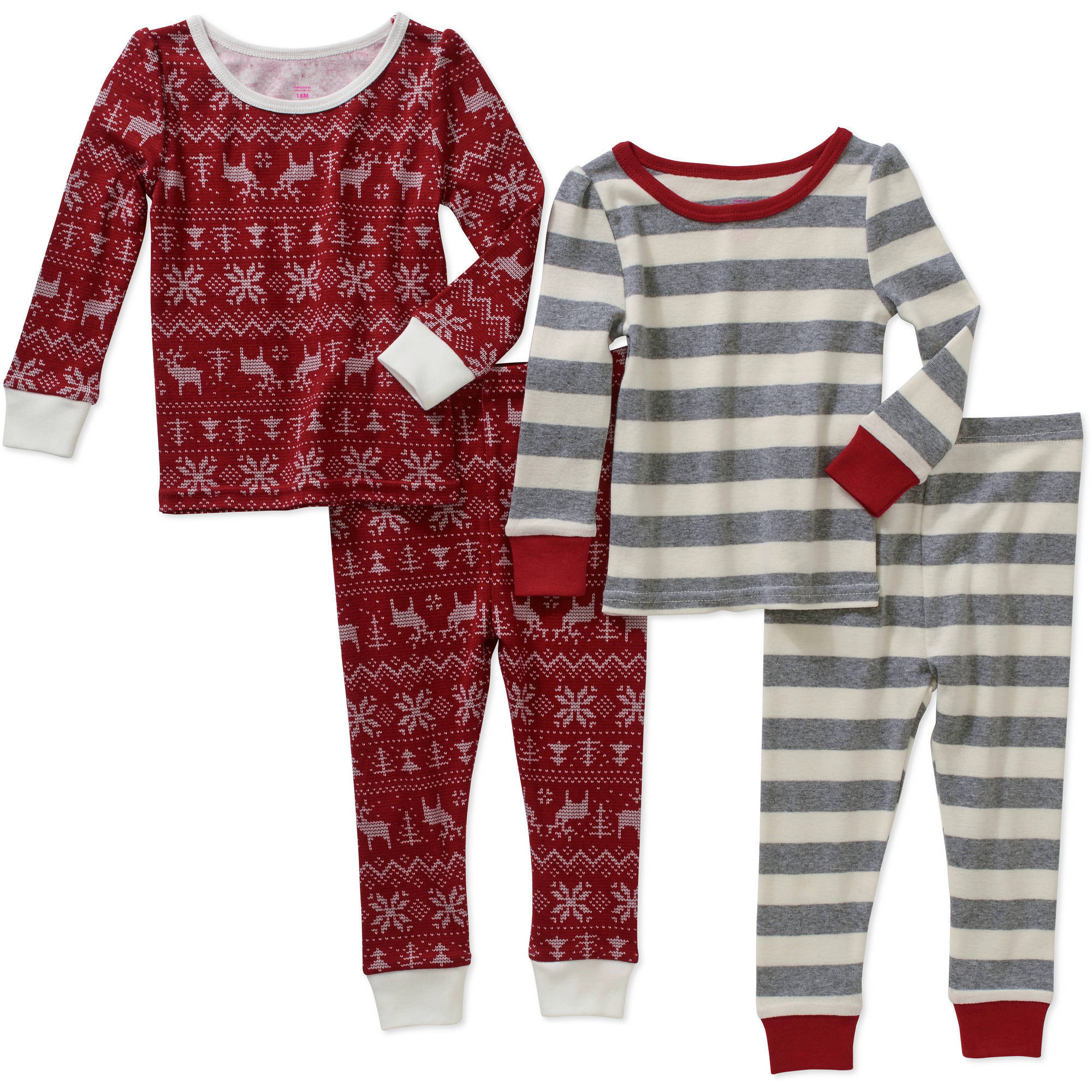 Baby Toddler Girl Cotton Tight Fit Pajamas, 4-piece set