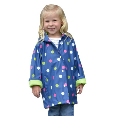 Foxfire Girls Navy Shiny Polka Dotted Print Trendy Raincoat 8-10
