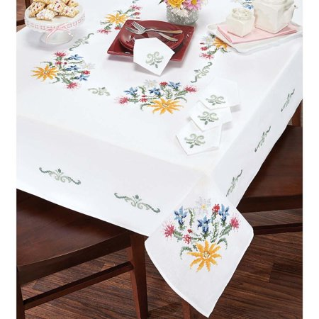- Duftin Alpine Flowers Table Linens Stamped Cross-Stitch
