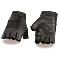 Milwaukee Leather Men's Leather & Mesh Fingerless Glove w/ Padded Palm