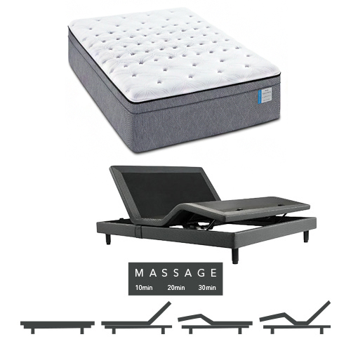 Drakesboro King Size Plush Euro Top Mattress and Adjustable Base with Massage Feature Sealy Posturepedic by Sealy