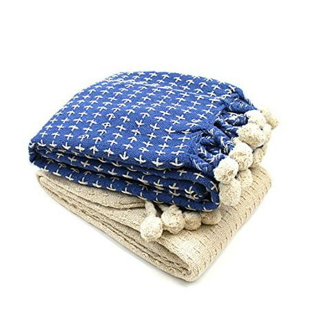 Amrapur Cross Stitch 100% Cotton Throw Blanket with Pom Poms, 50
