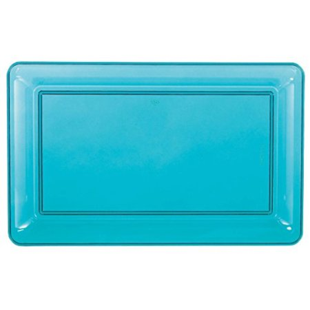 Boys Simple Rectangular Plastic Party Tray, 1 Piece, Made from Plastic, Caribbean Blue, 11