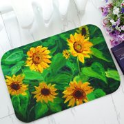 PHFZK Flower Floral Doormat, Oil Painting Yellow Sunflower Doormat Outdoors/Indoor Doormat Home Floor Mats Rugs Size 23.6x15.7 inches