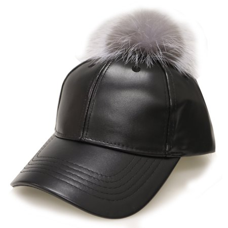 2925f4f03a3 City Hunter Women s Faux Fur100 Unisex Faux Leather Baseball Cap With Pom  Pom