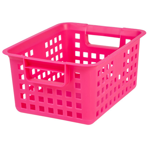 Small Plastic Storage Basket, Pink