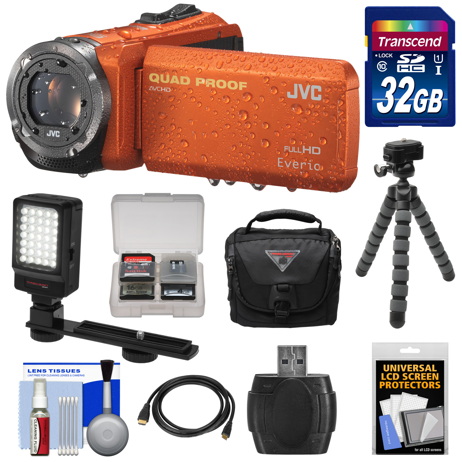 JVC Everio GZ-R320 Quad Proof Full HD Digital Video Camera Camcorder (Orange) with 32GB Card + Case + Flex Tripod + LED Light + Kit