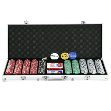 ZENY 500 Poker Chip Set 11.5 Gram Dice Style Clay Casino Poker Chips w/Aluminum Case, Cards, Dices, Blind Button for for Blackjack, Gambling