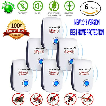 6 Packs [2018 NEW UPGRADED] LIGHTSMAX - Ultrasonic Pest - Electronic Plug -In Pest Control Ultrasonic - Best Repellent for Cockroach Rodents Flies Roaches Ants Mice Spiders Fleas